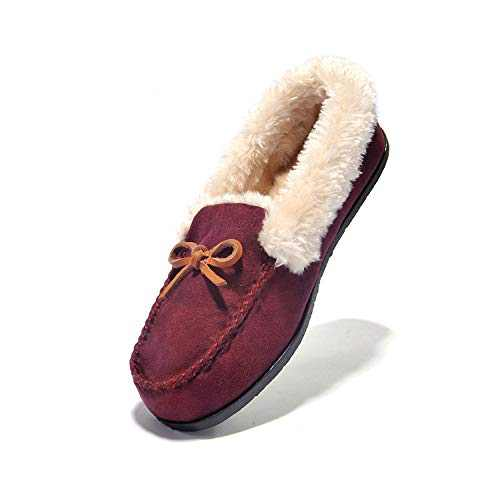 JIUMUJIPU Women's Plush Keeps Warm Moccasin Slipper Slip-On Loafer Flat Walking Shoe - Faux Fur Apartment Slippers (Wine RED/012-3, Numeric_5)