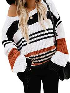 Margrine Womens Oversized Pullover Sweater Colorblock Rainbow Striped Casual Long Sleeve Knit Jumper Tops Black 8MA1-XJheise-S
