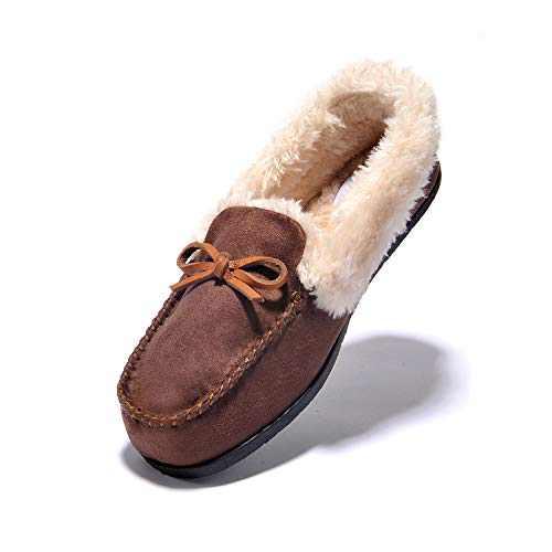 JIUMUJIPU Women's Moccasins&Loafers Faux Fur Slippers Flats Shoes (BROWN/012-1, Numeric_7)