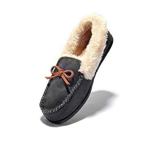 Women's Slipper Moccasin Loafers Slip-On Flat Shoe - Wine Red,Beige,Black,Brown,Deep Gray,Faux Fur Slippers JIUMUJIPU-012 (DEEP GRAY/012-5, Numeric_6)