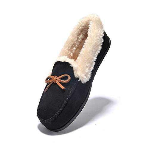 Women's Slipper Moccasin Loafers Slip-On Flat Shoe - Wine Red,Beige,Black,Brown,Deep Gray,Faux Fur Slippers JIUMUJIPU-012 (BLACK/012-2, Numeric_10)