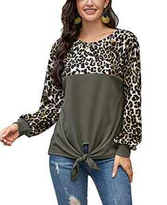 Mingnos Women's Tunics Contrast Color Leopard Print Long Sleeve T Shirts Tops (Army Green, L)
