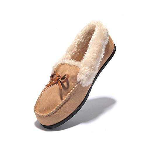 Women's Slipper Moccasin Loafers Slip-On Flat Shoe - Wine Red,Beige,Black,Brown,Deep Gray,Faux Fur Slippers JIUMUJIPU-012 (BEIGE/012-4, Numeric_7)