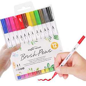 Dual Markers Brush Pen, Colored Pen Fine Point Art Marker & Brush Highlighter Pen for Adult Coloring Hand Lettering Writing Planner Art Supplier for Kid Adult Coloring Book, Calligraphy, Bullet Journal(12 Colors)