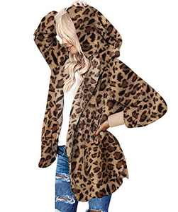 Mingnos Women Fuzzy Fleece Open Front Hooded Jacket Coat with Pockets (Leopard Print, 2XL)
