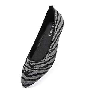Breifola Women's Shallow Mouth Fashion Pointed Toe Flat Shoes, mesh Casual Walking Shoes, Simple Knitted Low-Heel Flat Shoes 011-6-5 Blackgray