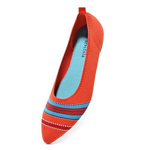 Breifola Women's Shallow Mouth Fashion Pointed Toe Flat Shoes, mesh Casual Walking Shoes, Simple Knitted Low-Heel Flat Shoes 011-10-10 Orange