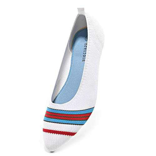 Breifola Women's Shallow Mouth Fashion Pointed Toe Flat Shoes, mesh Casual Walking Shoes, Simple Knitted Low-Heel Flat Shoes 011-9-8 White