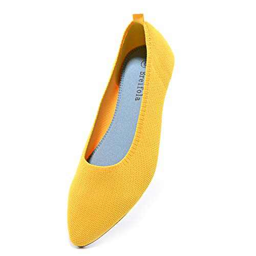 Breifola Women's Shallow Mouth Fashion Pointed Toe Flat Shoes, mesh Casual Walking Shoes, Simple Knitted Low-Heel Flat Shoes 011-8-5 Yellow