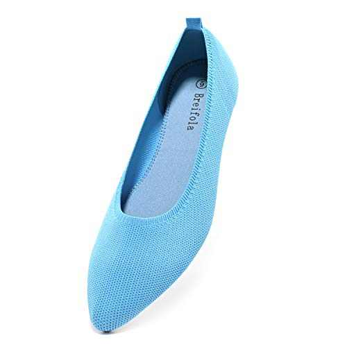 Breifola Women's Shallow Mouth Fashion Pointed Toe Flat Shoes, mesh Casual Walking Shoes, Simple Knitted Low-Heel Flat Shoes 011-7-9 Lake Blue
