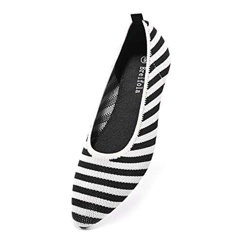 Breifola Women's Shallow Mouth Fashion Pointed Toe Flat Shoes, mesh Casual Walking Shoes, Simple Knitted Low-Heel Flat Shoes 011-5-5 Black/White