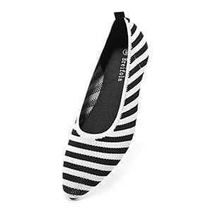 Breifola Women's Shallow Mouth Fashion Pointed Toe Flat Shoes, mesh Casual Walking Shoes, Simple Knitted Low-Heel Flat Shoes 011-5-8 Black/White