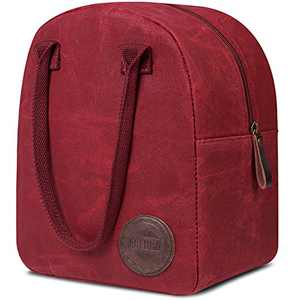 Insulated Waxed Canvas Large Lunch Bags for Women by ASEBBO, 10 L Reusable Thermal Lunch Tote for Women with Thick Aluminum Foil, Lunch Box for Women Best For Work, Picnic, College, School (Red)