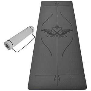 """Merisny Yoga Mat, Non Slip Fitness Exercise Mat, Eco Friendly Yoga Mats with Alignment Lines, 1/4"""" Thick Anti-Tear Yoga Mat with Carrying Strap for Yoga Pilates and Home Floor Workout, 72"""" x 24"""""""