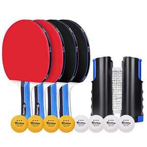 Richino Ping Pong Paddle Pro- 4 Rackets,8 ping Pong Balls and 1 Retractable Table Tennis net,Suit for Indoor or Outdoor Play
