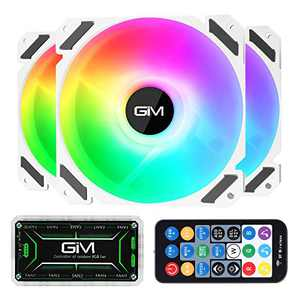 GIM KB-28 RGB Case Fans, 3 Pack White 120mm Quiet Computer Cooling LED Fan for PC case and CPU Cooler, Colorful Rainbow Speed Adjustable Cooler with Hub