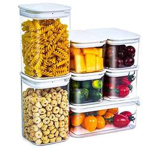 Citylife 7 Set Clear Food Storage Containers with Lids Fridge Storage Cereal Container Plastic Kitchen Storage Container Sets for Food