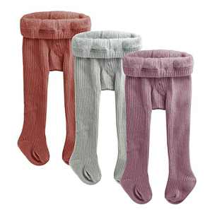 slaixiu 3-Pack Cotton Baby Girl Tights Cable Knit Seamless Toddler Leggings Pants Stockings ST14_Red&Gray&Purple_0-6 S