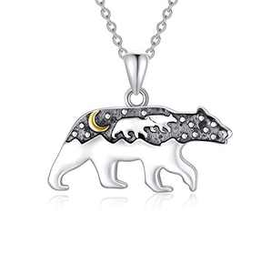 """PDTJMTG Mama Bear Necklace 925 Sterling Silver Momma Bear Necklace with 2 Cubs for Women, Gift for Mother's Day, 18""""+2"""""""