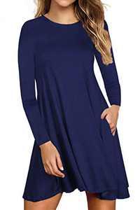 Lamilus Women's Casual T Shirt Dresses Fall Long Sleeve Dress with Pockets(XXL,Navy-long-8001)