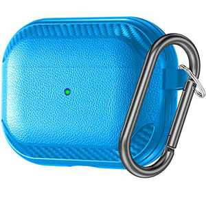 Charlam for AirPods Pro Case - Full-Body Hard Shell Protective Cover Case Skin with Keychain Compatible with Apple AirPod Pro Wireless Charging Case 2019, [Front LED Visible], Blue