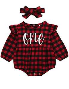 Shalofer Baby Girls First Valentine's Day Outfits One Year Old Birthday Bodysuit with Headband (Red,18-24 Months)