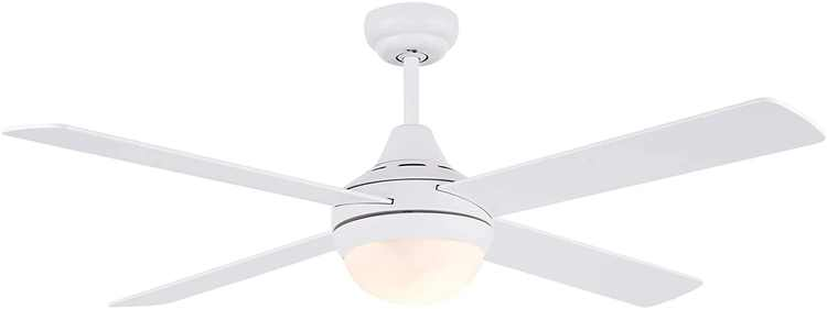 CJOY Ceiling Lamp with Fan Reversible, Fan Light Ceiling 48 Inches 4 Plywood Blades White, Silent Ceiling Fan with Lighting and Remote Control 2 E27 Lamp Holder Without Bulb