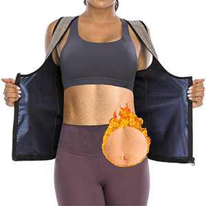 CZYAM Sauna Sweat Vest for Women Waist Trainer Vest Workout Sauna Tank Top Shapewear with Zipper Gray