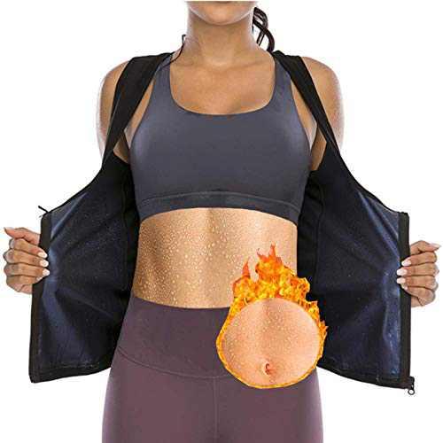 CZYAM Sauna Sweat Vest for Women Waist Trainer Vest Workout Sauna Tank Top Shapewear with Zipper Black Blue