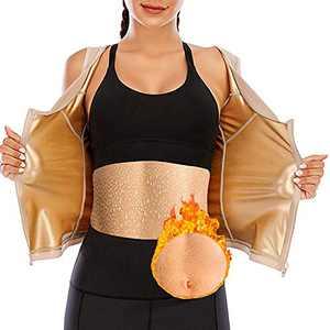 CZYAM Sauna Sweat Vest for Women Waist Trainer Vest Workout Sauna Tank Top Shapewear with Zipper Apricot
