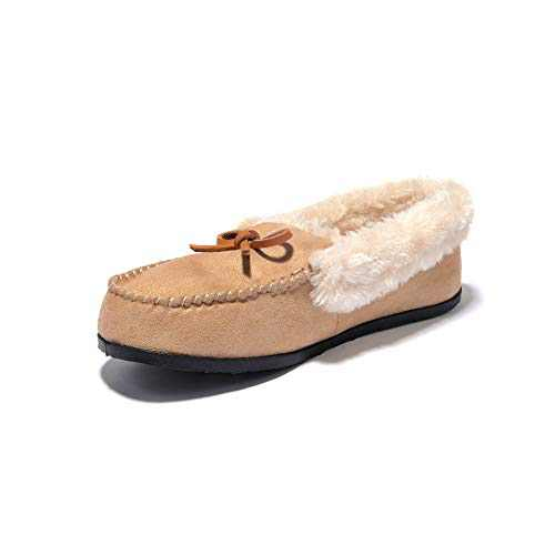 JIUMUJIPU A012,Women's Faux Fur Indoor Shoes House Slippers (BEIGE-A012-4, Numeric_11)