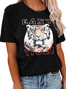 LilyCoco Women's Easy Tiger Graphic Tee Letter Print T-Shirt Short Sleeve Casual Funny Tops Black S