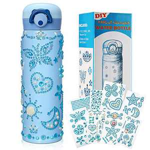 Water Bottle Craft Kit for Kids Decorate Your Own Water Bottle with 8 Sheets Glitter Gem Stickers, DIY Water Bottle Art and Craft for Girls Toy,DIY Christmas Birthday for Girls Age 4-12 Years Old 17oz