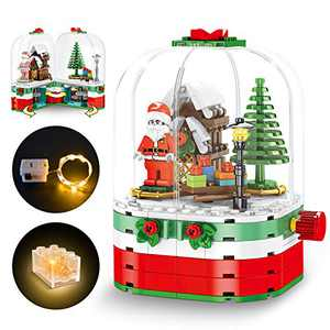 Kimiangel Christmas Building Blocks Set Toy, The Best Gift Set, Rotating Tree House with Light, Suitable for Boys and Girls Over 6 Years Old Creative Treasure Box Gifts