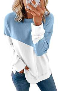 Enafad Women Long Sleeve Crew Neck Shirts Casual Loose Color Block Pull Over Tops Light Blue