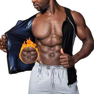 CZYAM Men Training Vest Hot Sweat Suana Slimming Body Shaper Zipper Tank Top Workout Suit Black Blue