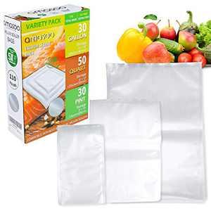 110 COUNT (30-Pint 6''x10''/ 50-Quart 8''x12''/ 30-Gallon 11''x16'') AMASOO Vacuum Sealer Bags, Food Saver Precut Vacuum Seal Bags for Sous Vide, Vac Storage | Food labels | BPA-Free, Heavy Duty