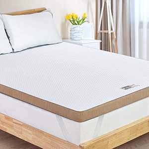 BedStory 3inch Memory Foam Mattress Topper, Gel Infused Cooling Topper Calking Size, Pressure Relief, Ventilated Design, Premium Bed Topper with Removable & Washable Cover, CertiPUR-US Certified