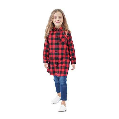 GLIGLITTR Kids Girls' Long Sleeve Button Down Cotton Flannel Check Plaid Shirt Dress Fall Winter Clothes (Red-Black, 8-9 T)