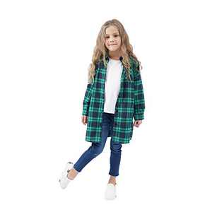 GLIGLITTR Kids Girls' Long Sleeve Button Down Cotton Flannel Check Plaid Shirt Dress Fall Winter Clothes (Green-Blue, 6-7 T)