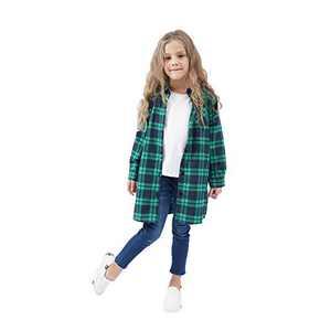 GLIGLITTR Kids Girls' Long Sleeve Button Down Cotton Flannel Check Plaid Shirt Dress Fall Winter Clothes (Green-Blue, 7-8 T)