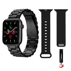 Compatible with Apple Watch Band Series 3, Series 6 42mm 44mm iWatch Bands for Men Women, Dual Adjustable Watch Strap Replacement with Removal Tool, Metal and Silicone, Pack 2, Black