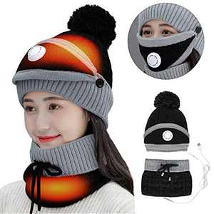 FAMKIT USB Heated Hat Scarf Set Womens Mens Winter Hat Warm Thick Beanie Cap Scarf for Winter Knit Ski Beanies(No Charging Function, Need to use Power Bank to Supply Power)