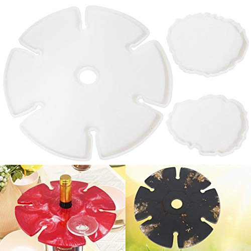 Wine Rack Resin Molds, Silicone Wine Butler Casting Molds with 2Pcs Coaster Resin Molds,Wine Glass Holder Epoxy Resin Molds, Silicone Resin Molds for Wine Bottle Holder, Wine Glass Holder, Wine Butler