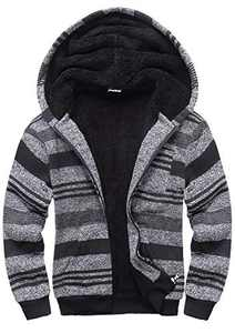 SWISSWELL Boys Fleece Hoodie Full Zip Hooded Sweatshirt with Thick Sherpa Lined (D-Dark Grey, 14)