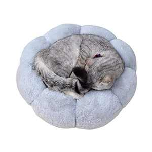 Cat Bed Soft Plush 16inch Flower Cushion Self Warming Machine Washable Pet Bed with Waterproof Bottom for Cats, Kittens, Puppies and Small Dogs, Gray