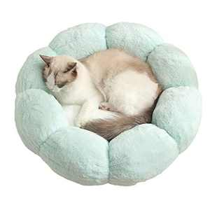 Cat Bed Soft Plush 22inch Flower Cushion Self Warming Machine Washable Pet Bed with Waterproof Bottom for Cats, Kittens, Puppies and Small Dogs, Green &White
