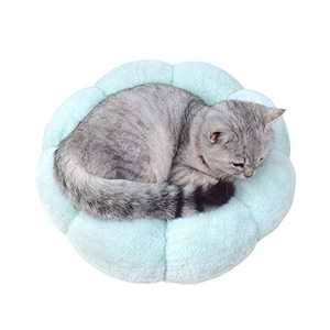 Cat Bed Soft Plush 16inch Flower Cushion Self Warming Machine Washable Pet Bed with Waterproof Bottom for Cats, Kittens, Puppies and Small Dogs, Green &Pink