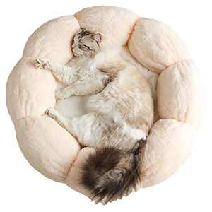 Cat Bed Soft Plush 16inch Flower Cushion Self Warming Machine Washable Pet Bed with Waterproof Bottom for Cats, Kittens, Puppies and Small Dogs, Pink &White