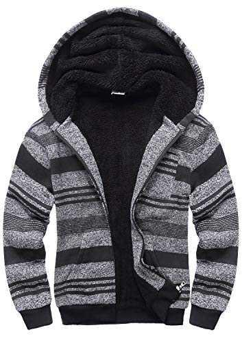 GEEK LIGHTING Boys Sherpa Lined Hoodie Kids Fleece Sweatshirt Full Zip Hooded Jacket (A-Dark Grey,12)